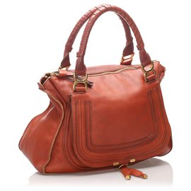 Chloé-Chloe Brown Marcie Leather Handbag-Brown