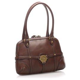 Gucci-Gucci Brown Reins Leather Shoulder Bag-Brown,Dark brown