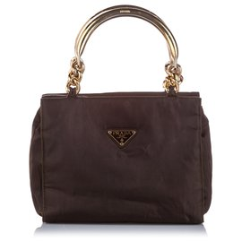 Prada-Prada Brown Tessuto Handbag-Brown,Golden,Dark brown
