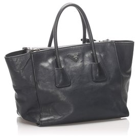 Prada-Prada Blue Twin Pocket Leather Satchel-Blue,Dark blue