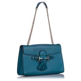 Gucci-Gucci Blue Microguccissima Emily Shoulder Bag-Blue