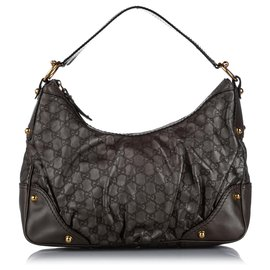 Gucci-Gucci Gray Guccissima Jockey Leather Shoulder Bag-Grey