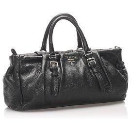 Prada-Prada Black Leather Satchel-Black