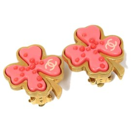 Chanel-Chanel Pink CC Clover Clip-on Earrings-Pink,Golden