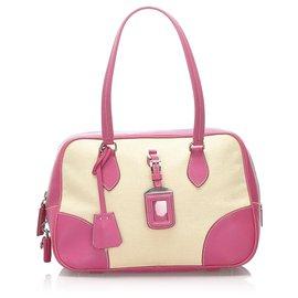 Prada-Prada Brown Canvas Handbag-Brown,Pink,Beige