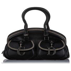 Dior-Dior Black Medium Detective Leather Handbag-Black