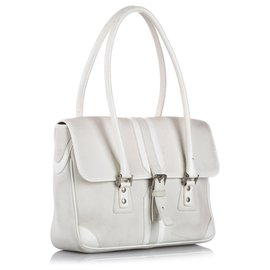 Burberry-Burberry White Leather Shoulder Bag-White