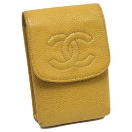 Chanel-Chanel Yellow CC Caviar Cigarette Case-Yellow