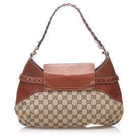 Gucci-Gucci Brown GG Canvas Horsebit Shoulder Bag-Brown,Beige