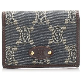 Céline-Celine Blue Macadam Denim Card Holder-Brown,Blue