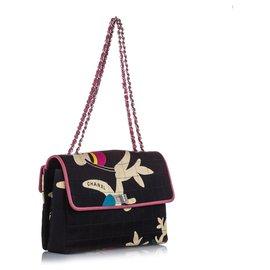 Chanel-Chanel Black Choco Bar Reissue Cotton Shoulder Bag-Black,Multiple colors