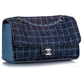 Chanel-Chanel Blue Medium Tweed Single Flap Bag-Blue
