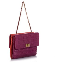 Chanel-Chanel Pink Choco Bar Reissue Lambskin Leather Shoulder Bag-Pink