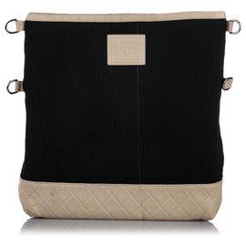 Chanel-Chanel Black Sports Line Cotton Shoulder Bag-Brown,Black,Beige