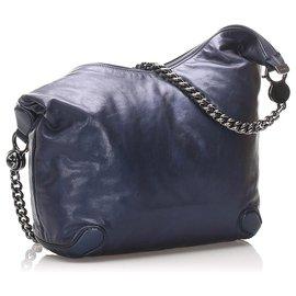 Gucci-Gucci Blue Galaxy Chain Leather Hobo Bag-Blue,Navy blue