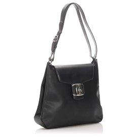 Salvatore Ferragamo-Ferragamo Black Vara Leather Shoulder Bag-Black