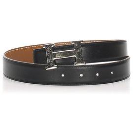 Hermès-Hermes Green Constance Leather Belt-Silvery,Green,Dark green