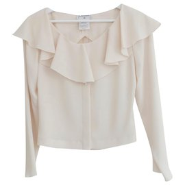 Chanel-AW00 Open Back Frill Neck Blouse-Cream