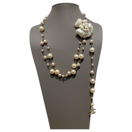 Chanel-Long necklaces-Beige,Golden