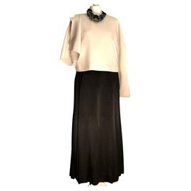 Chanel-Chanel vintage pleated silk skirt-Black