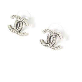 Chanel-silver cc m rhinestones-Silvery