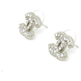 Chanel-small silver cc rhinestones-Silvery
