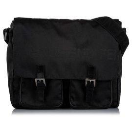 Fendi-Fendi Black Canvas Crossbody Bag-Black