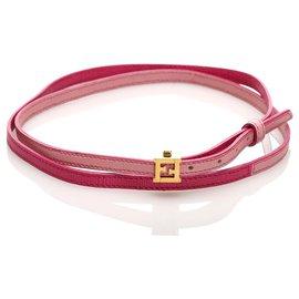 Fendi-Fendi Pink Crayons Leather Bracelet-Pink,Golden