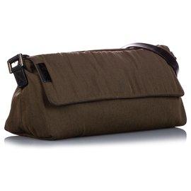 Fendi-Fendi Brown Canvas Shoulder Bag-Brown,Black