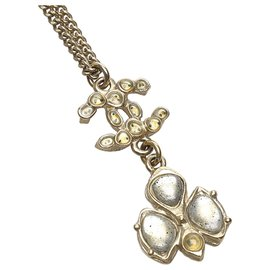 Chanel-Chanel Silver CC Rhinestone Necklace-Silvery