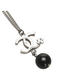 Chanel-Chanel Silver CC Faux Pearl Necklace-Black,Silvery