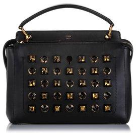 Fendi-Fendi Black Studded DotCom Leather Satchel-Black,Golden