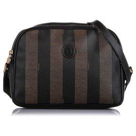 Fendi-Fendi Black Pequin Crossbody Bag-Brown,Black