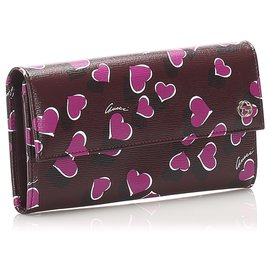 Gucci-Gucci Red Hearvery good conditionat Continental Wallet-Red,Multiple colors,Other
