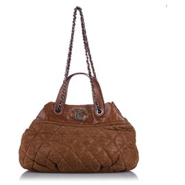 Chanel-Chanel Brown Classic In the Mix Lambskin Leather Satchel-Brown