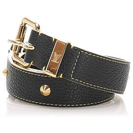Louis Vuitton-Louis Vuitton Black Studded Suhali Belt-Black,Golden