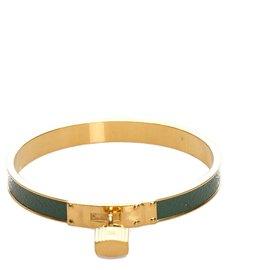 Hermès-Hermes Gold Kelly Lock Cadena Bracelet-Golden,Green