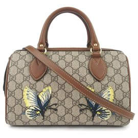 Gucci-Gucci Brown GG Supreme Butterfly Embroidered Satchel-Brown,Beige