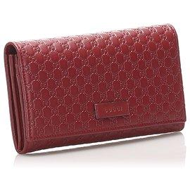 Gucci-Gucci Red Microguccissima Continental Wallet-Red