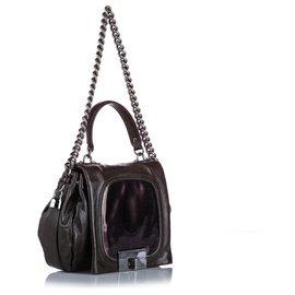 Céline-Celine Purple Leather Satchel-Purple