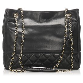 Chanel-Chanel Black CC Timeless Lambskin Chain Tote Bag-Black