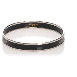 Hermès-Hermes Black Enamel Bangle-Black,Silvery
