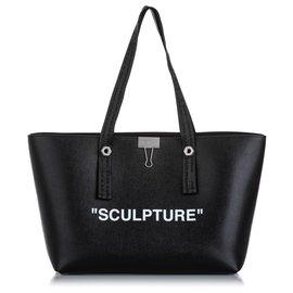 Off White-Off White Black Sculpture Leather Tote Bag-Black