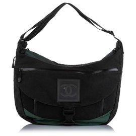 Chanel-Chanel Black CC Sports Line Nylon Shoulder Bag-Black,Green