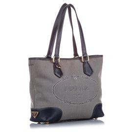 Prada-Prada Brown Canapa Canvas Tote Bag-Brown,Blue,Beige,Dark blue