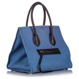 Céline-Celine Blue Small Phantom Canvas Tote Bag-Black,Blue,Light blue