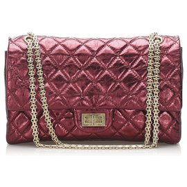 Chanel-Chanel Red Reissue Quilted Leather lined Flap Bag-Red,Golden