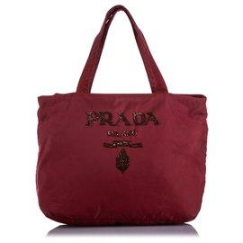 Prada-Prada Red Tessuto Embellished Tote Bag-Red