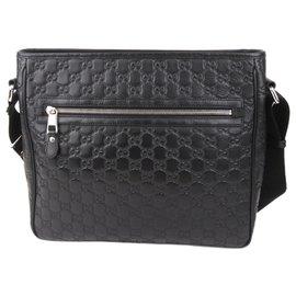 Gucci-Gucci Black Guccissima Crossbody Bag-Black