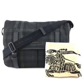 Burberry-Burberry Messenger Bag Smoked Check Pattern Black Nylon-Black